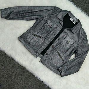Chico's Metallic Denim Jacket Grey Large Size 12